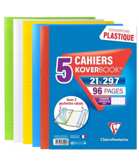 CLAIREFONTAINE Lot de 5 Koverbook Cahier piqure avec rabats - 210 x 297 mm - 96 pages - Seyes papier PEFC 90 g