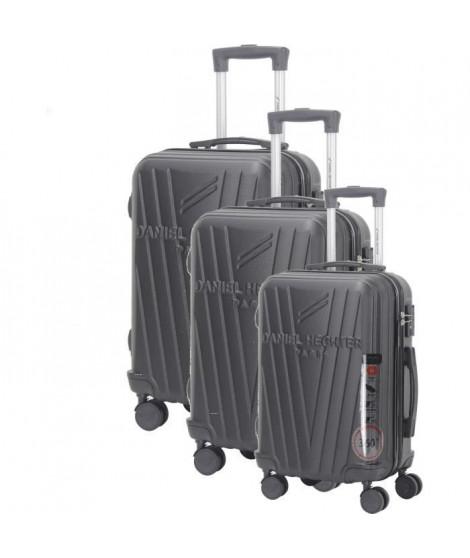 DANIEL HECHTER Set de 3 Valises Trolley DHVSTTROPEZ Rigide ABS - 8 Roues - Cadenas TSA - 50-60-70 cm - Noir