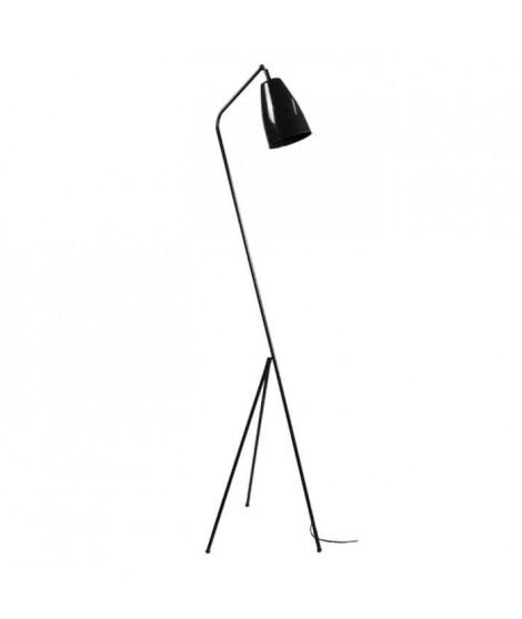 LARSEN Lampadaire en acier Noir  - Abat-jour cloche Acier Noir - E27 -  L40 x l40 x H155 cm