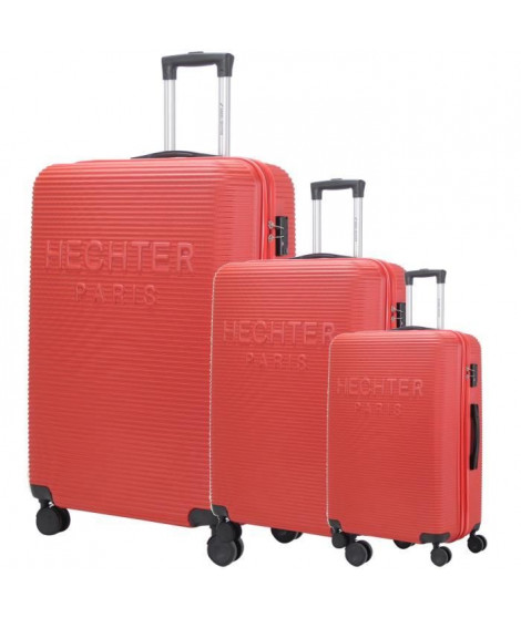 DANIEL HECHTER Set de 3 Valises Trolley DHVDEAUVILLE Rigide ABS - 8 Roues - Cadenas TSA - 50-60-70 cm - Rouge