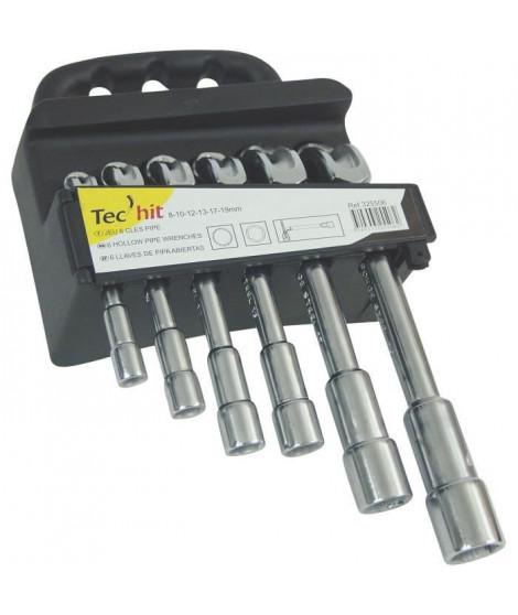 TEC HIT Jeu de 6 clés a pipe débouchées de 8 a 19 mm