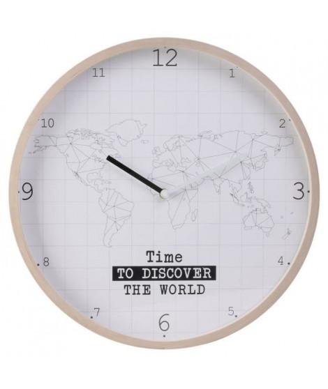 HOME DECO Factory Horloge murale Mappemonde - Contour bois M8 HO2914