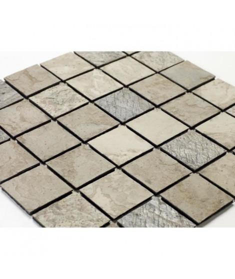 U-TILE Mosaique en pierre naturelle 30 x 30 xm - carreau 5 x 5 cm - mixte beige