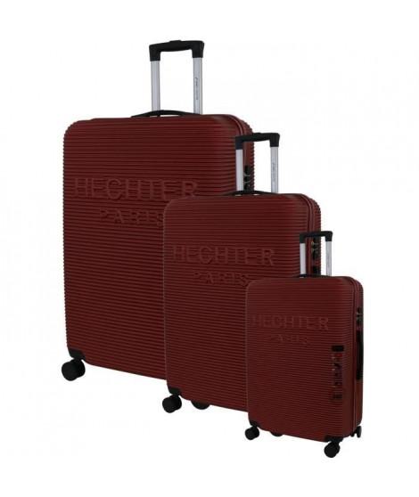 DANIEL HECHTER Set de 3 Valises Trolley DHVDEAUVILLE Rigide ABS - 8 Roues - Cadenas TSA - 50-60-70 cm - Rouge bordeaux