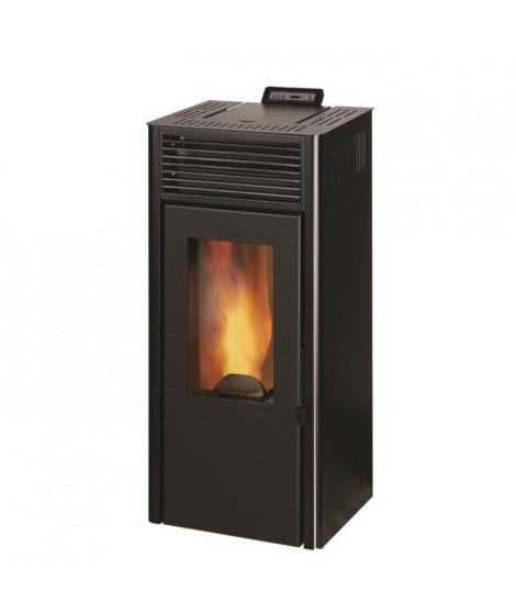 INVICTA Nola 7 - Poele a granulés modulable de 2,5 a 7 kW - Acier - Rendement : 86 % - Autonomie : 27 h - Flamme verte 6* - Noir