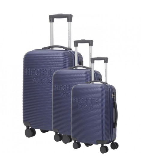 DANIEL HECHTER Set de 3 Valises Trolley DHVDEAUVILLE Rigide ABS - 8 Roues - Cadenas TSA - 50-60-70 cm - Bleu marine