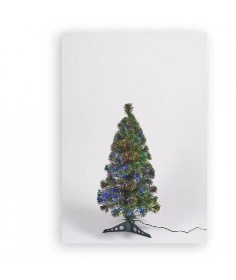 Sapin vert de Noël en PVC - H 80 cm - Fibre optique multicolore - 24 V lumiere animée