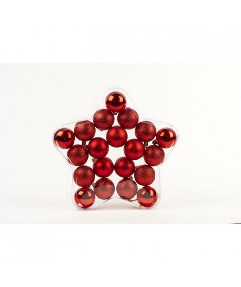 Set de 20 Boules de Noël - Ø5 cm - Rouge