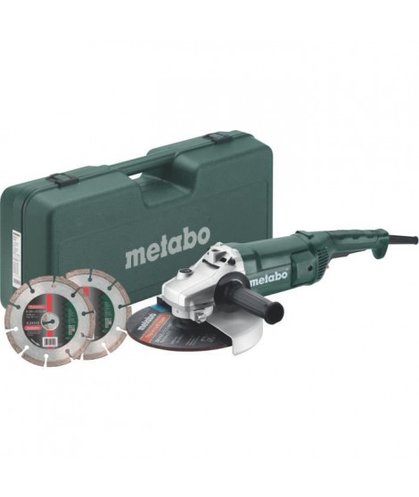 METABO Meuleuse - 230 mm WEP 2200-230 + Coffret + 2 disques diamants