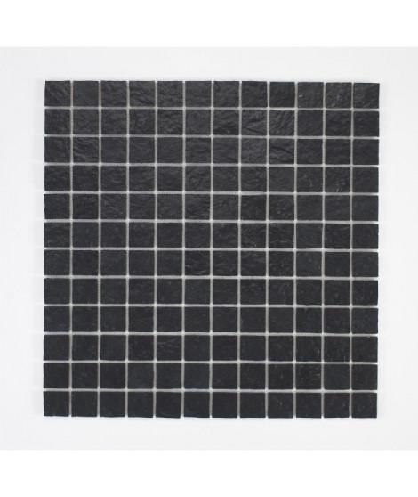U-TILE Mosaique en resine imitation pierre 100 x 50 cm - carreau 2,5 x 2,5 cm - noir