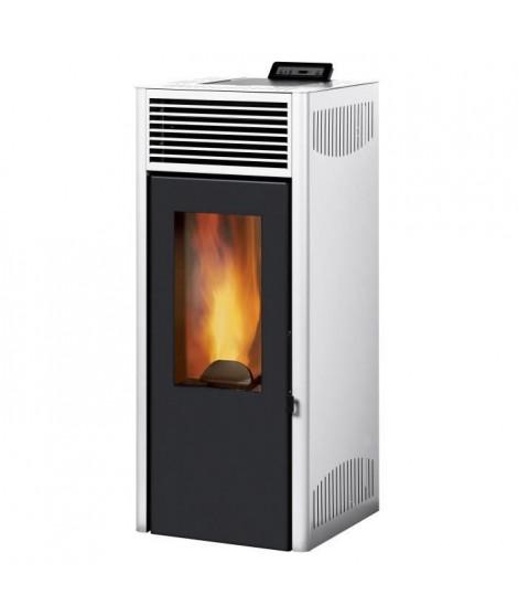 INVICTA Nola 8 - 8 Kw - Poele a granulés étanche modulable de 3,1 a 8 kW - Acier - Rendement : 90 % - Flamme verte 7* - Blanc