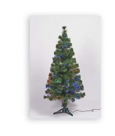 Sapin vert de Noël en PVC - H 120 cm - Fibre optique multicolore - 24 V lumiere animée