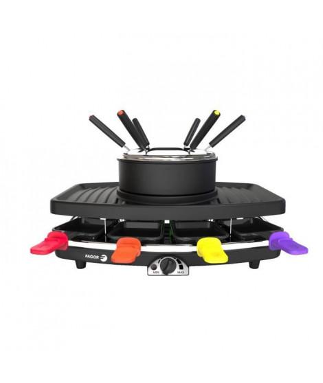 FAGOR - FG816 -Appareil combiné 3 en 1 raclette + fondue + grill - 1100W - capacité  1,5L - 8 poelons + 6 pics a fondue