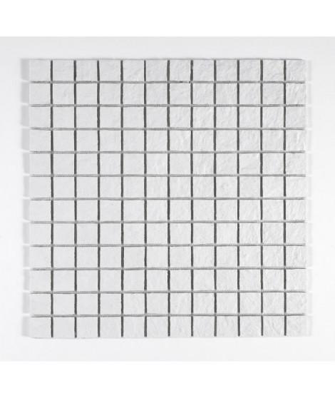 U-TILE Mosaique en resine imitation pierre 30 x 30 cm - carreau 2,5 x 2,5 cm - blanc