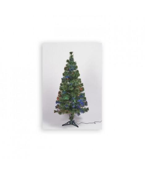 Sapin vert de Noël en PVC - H 150 cm - Fibre optique multicolore - 24 V lumiere animée