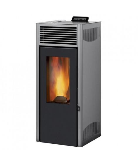 INVICTA Nola 8 - 8 Kw - Poele a granulés étanche modulable de 3,1 a 8 kW - Acier - Rendement : 90 % - Flamme verte 7* - Gris