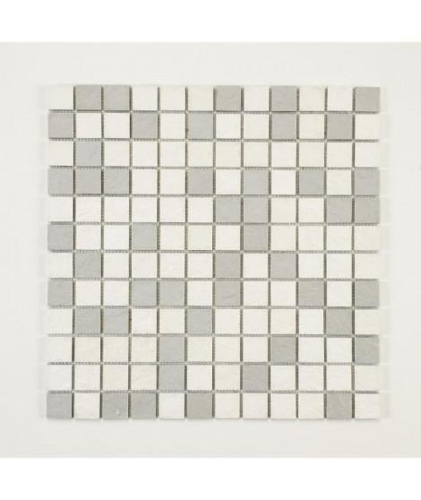 U-TILE Mosaique en resine imitation pierre 100 x 50 cm - carreau 2,5 x 2,5 cm - mixte blanc et gris clair