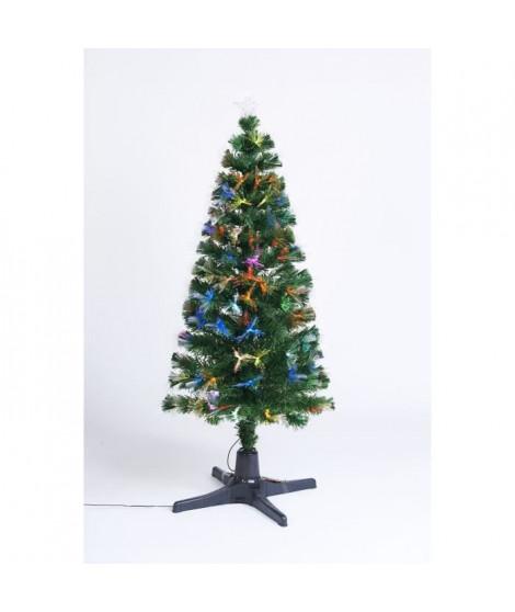 Sapin vert de Noël en PVC - H 180 cm - Fibre optique avec pied oscillant