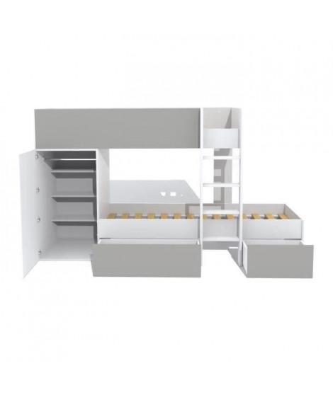TWIN Lit superposé enfant contemporain blanc et gris - l 90 x L 190 cm