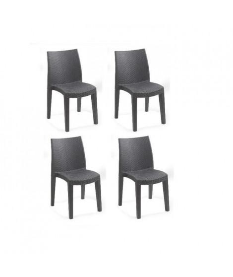 Lots de 4 chaises LADY empilable, aspect résine tressée