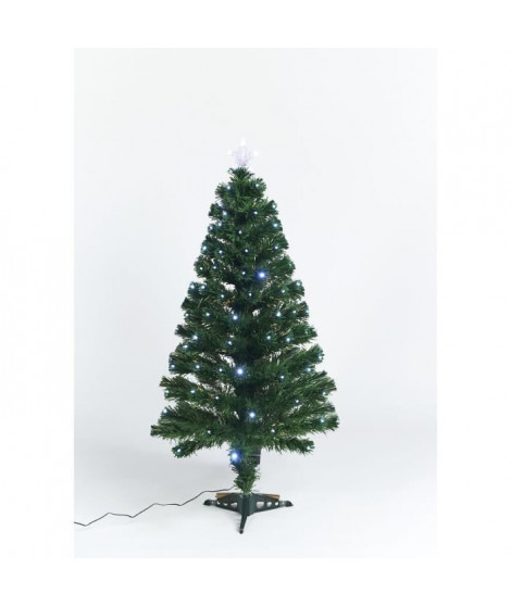 Sapin vert de Noël Caméléon - H 120 cm - Fibre optique bicolore blanc chaud et froid