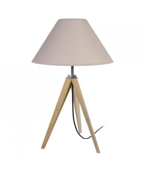 IDUN Lampe a poser en bois naturel - Ø30 x H.56 cm - Abat-jour conique taupe - E27 60W