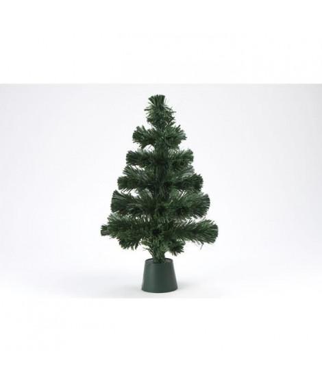 Sapin vert de Noël - H 45 cm - Fibre optique LED rouge bordeaux