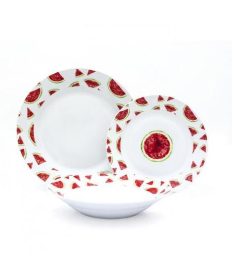 ABS - T1903300-X - Service de table - 18PCS - En porcelaine - Gamme Pasteque