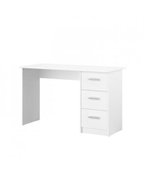 ESSENTIELLE Bureau 3 tiroirs - Décor Blanc - L 121,2 x P 74,3 x H 55 cm
