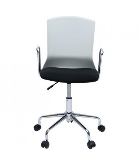 DIANA Chaise de bureau - Tissu noir et blanc - Contemporain - L 52 x P 52 cm
