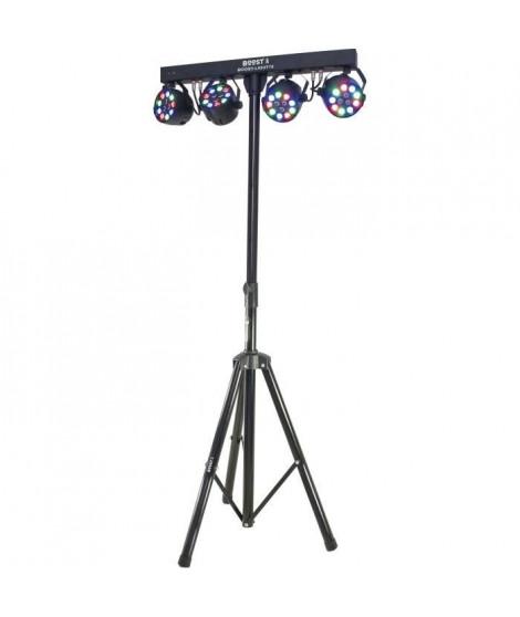 BOOST 15-1186BO 4 projecteurs PAR sur barre transversale - 12x1W - LED RGBW