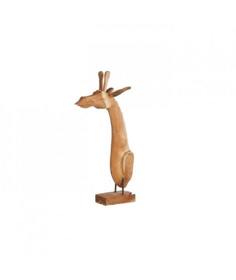 Tete de girafe en teck naturel sur socle - 27 x 40 x 83 cm - Beige naturel