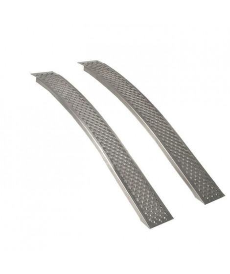 JARDIN PRATIC Jeu de 2 rampes courbées en aluminium - L 150 x l 21 cm - Profil antidérapant d'une capacité maximum de 400 kg/…