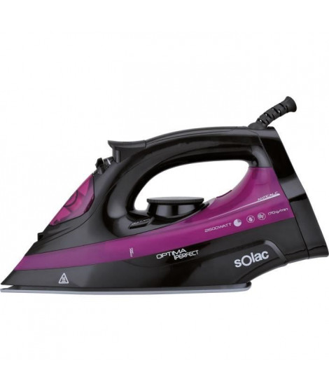 SOLAC New Optima Pro -PV2114 Fer vapeur - 2600 W - Semelle céramique - Noir et rose
