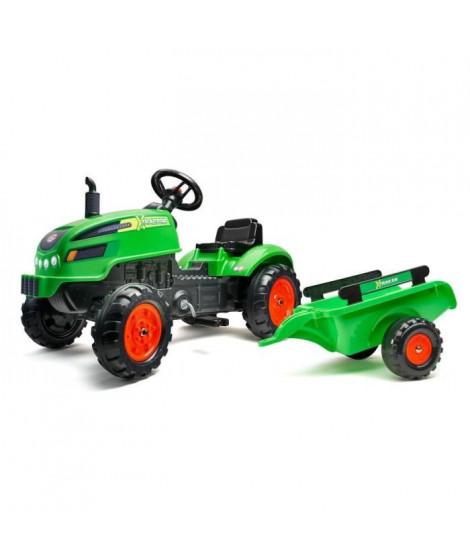 FALK - Tracteur a pédales X Tractor vert avec capot ouvrant et remorque inclus