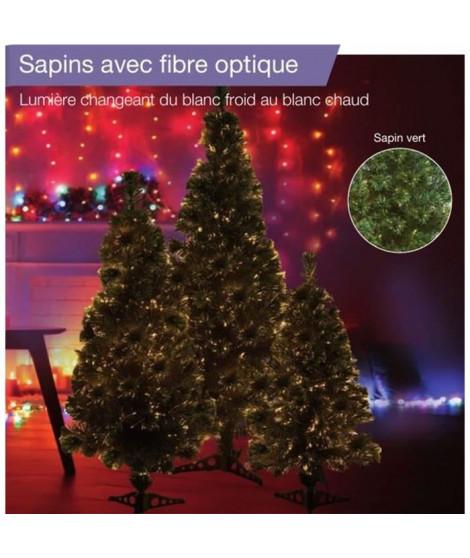Sapin vert de Noël en PVC - H 120 cm - Fibre optique blanc chaud a blanc froid