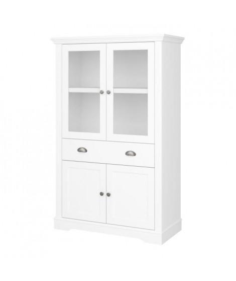 VENICE Petit vaissailier 2 portes bois + 2 portes vitrées + 1 tiroir - Laqué blanc -  L 90 x P 40 x H 140 cm