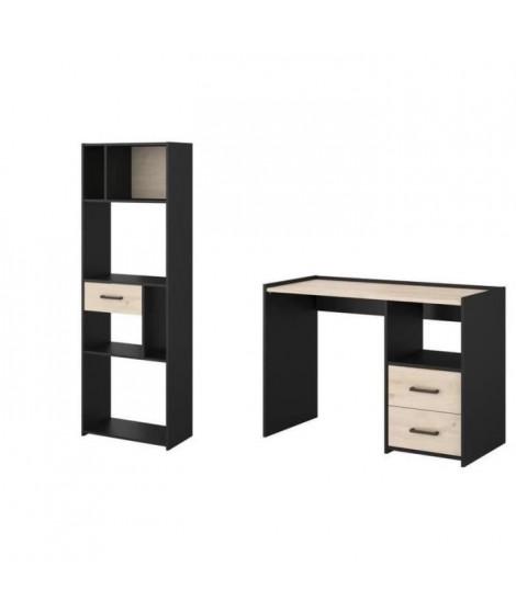 FELIX Ensemble Bureau et bibliotheque - Décor noir et chene jackson - L 113,5 x P 78,5 x H 50 cm