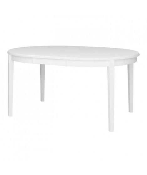 VENICE Table ronde avec 1 allonge - Laqué blanc - L 120/160 x P 120 x H 75,7 cm