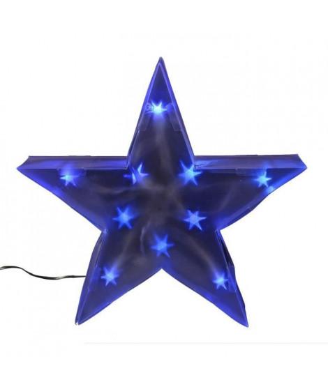 Etoile de Noël 10 LEDs avec fil transparent - PVC - 35 cm - Bleu