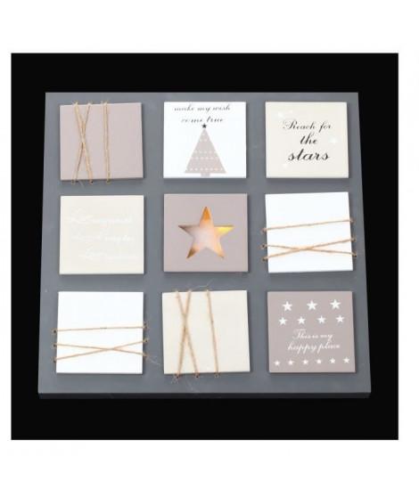 Cadre lumineux Noël 10 LEDS - Bois et plastique - H 35 x L 35 cm