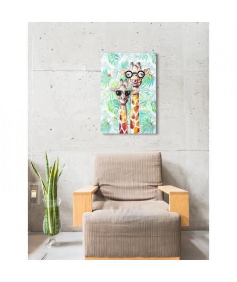 Toile peinte pré-imprimée Crazy Girafes - 65x95 cm - Retouché a la main Girafe sur chassis Mdf