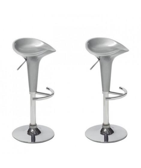 POP Lot de 2 tabourets de bar gris - Contemporain - L 44 x P 47 cm
