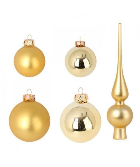 Set de 19 boules de Noël en verre avec 1 cimier - Ø 6 / 5 cm - Ø 6 x H 27 cm - Or