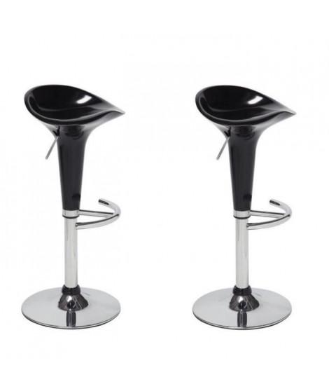 POP Lot de 2 tabourets de bar noir - Contemporain - L 44 x P 47 cm