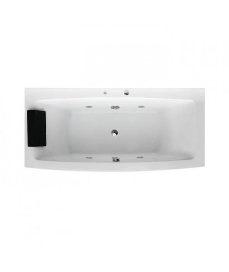 Baignoire Balnéo relaxante WELLNESS 4 jets avec LED-170*80*68cm-blanc