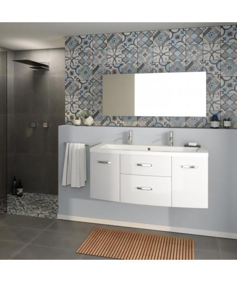 PACOME Salle de bain complete simple vasque L 120 cm - Blanc brillant