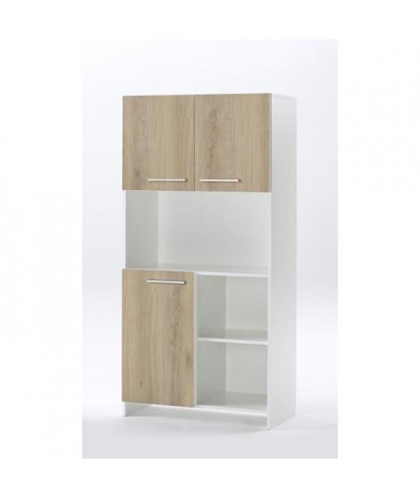 MIAMI Buffet de cuisine décor chene et blanc - L 80cm