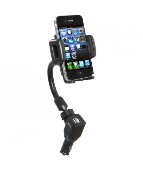 AUTO-T Support actif orientable smartphones/GPS+USB