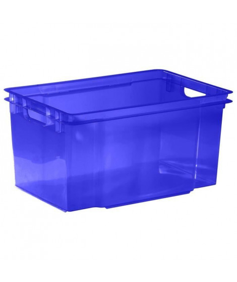ALLIBERT Boîte de rangement bleu transparent Crownest - Empilable - 50 L